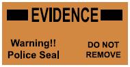"""Black/fluorescent Orange Police Seal, 3"""" x 1.5"""" (EIL02R)"""
