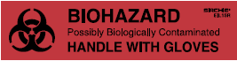 """Biohazard"" Handle with Gloves Labels, 4"" x 1"" (EIL15R)"