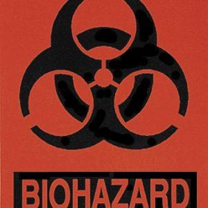 """Biohazard Labels, Black/Fluorescent Red, 4"""" x 5"""" (BIO200)"""