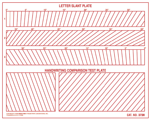 Handwriting Letter Slant and Comparison Plate (373H)