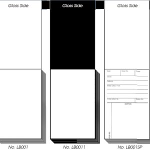 BACKING CARD PADS, Gloss Black, 50 per pad (LB002)