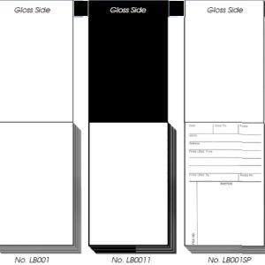 BACKING CARD PADS, Gloss Black, 50 per pad (LB002)