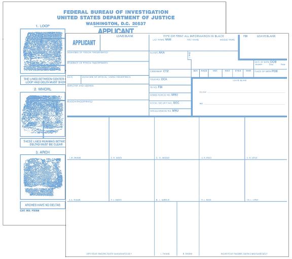 Applicant Record Cards, No Imprint, 100 ea. (FD258)